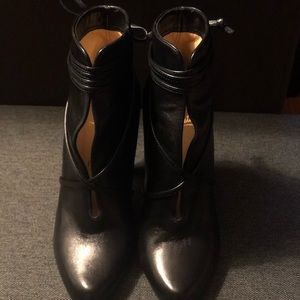 Christian Louboutin Black Leather Heel Bootie